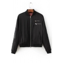 Fashion Zip Pocket Stand-Up Collar Long Sleeve Zip Up Baseball Jacket