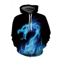 Digital Fire Dragon Pattern Long Sleeve Unisex Hoodie with Pockets