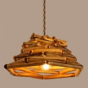 Industrial Pendant Light Sheer Bamboo Suspension Handicraft Yellow in half Oval Shape