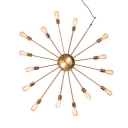 Novelty Shape Industrial Style 15 Bulbs 43'' W Large Starburst LED Wall Light in Gold Finish