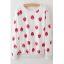 New Arrival Chic Strawberry Pattern Long Sleeve Round Neck Sweatshirt