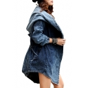 New Collection Fashion Street Style Hooded Long Sleeve Plain Denim Coat