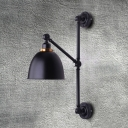 Industrial Sconce with Bowl Shade, Vintage Black