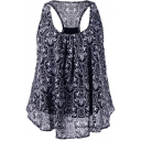 Summer's Floral Printed Scoop Neck Sleeveless Layered Chiffon Tank Top
