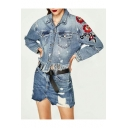 New Stylish Ripped High Low Hem Embroidery Floral Pattern Single Breasted Denim Jacket