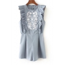 Chic Floral Embroidered Ruffle Hem Round Neck Sleeveless Loose Rompers