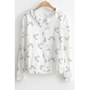 Cute Cartoon Printed Long Sleeve Button Down Shirt