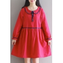 Cute Peter Pan Collar Long Sleeve Plain Mini Smock Dress