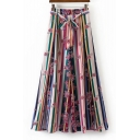 Casual Stripes Print Sash Split Wide Leg Pants