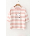 Adorable Striped Whale Graphic Printed Half Sleeve Round Neck Tee