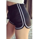 Summer's High Rise Elastic Waist Striped Side Casual Leisure Sports Shorts
