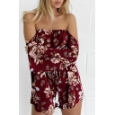 New Trendy Sexy Off The Shoulder Long Sleeve Floral Pattern Beach Rompers