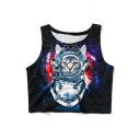 Summer's Fashion Space Cat Pattern Round Neck Sleeveless Sports Cropped Tank Tee