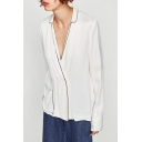 New Fashion Notched Lapel Collar Long Sleeve Contrast Stitching Double Breasted Blazer with Single Pocket