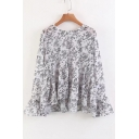 Round Neck Flared Long Sleeve Floral Printed Comfort Chiffon Pullover Blouse