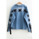 New Stylish Grommet Lace-Up Back Lapel Collar Long Sleeve Buttons Down Denim Jacket