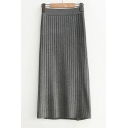 High Rise Elastic Waist Basic Simple Plain Midi Knit Skirt