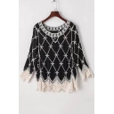 Fashion Hollow Out Lace Patchwork Embroidery Color Block Long Sleeve Blouse