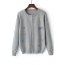 Embroidery Pattern Long Sleeve Round Neck Single Breasted Cardigan