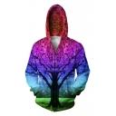 Color Block Tree 3D Printed Hooded Long Sleeve Zip Up Hoodie