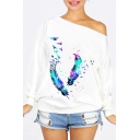 Chic Bird Feather Printed Off the Shoulder Long Sleeve Pullover Sweatshirt