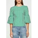 Women's Bell Half Sleeve Round Neck Beaded Striped Blouse