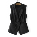 Notched Lapel Collar Sleeveless Elastic Waist Plain Vest Coat with Single Button