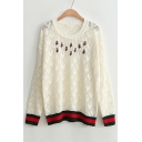 Striped Trim Hollow Out Embroidery Floral Pattern Round Neck Pullover Sweater