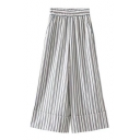 Folded Cuff Classic Striped Pattern Elastic Waist Loose Wide Legs Culottes Pants