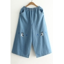 Elastic Waist Lovely Cartoon Dog Embroidered Loose Wide Legs Capris Jeans