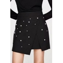 Chic Pearl Embellished Fashion Mini A-Line Asymmetrical Skirt