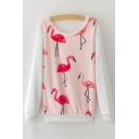 New Fashion Flamingo Pattern Long Sleeve Round Neck Pullover Sweatshirt