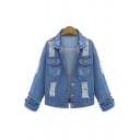 Fashion Character Printed Back Cut Out Lapel Collar Buttons Down Denim Jacket