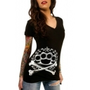 Hot Fashion Skull Pattern V Neck Short Sleeve Slim Pullover T-Shirt