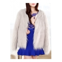 Hot Fashion Winter's Warm Long Sleeve Collarless Plain Fur Coat