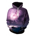 Hot Fashion Digital Boat Pattern Casual Leisure Hoodie for Couple