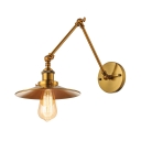 Industrial Wall Lamp with Conical Shade, Natural Brass