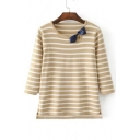Lovely Bow Detail Striped Color Block Half Sleeve Pullover Sweater