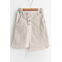 New Collection Buttons Down Simple Plain Mini A-Line Asymmetrical Skirt