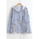 New Fashion Striped Pattern Hooded Long Sleeve Buttons Down Sun Coat