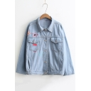 Casual Graphic Printed Lapel Long Sleeve Single Breasted Denim Jacket