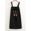 Fresh Embroidery Cartoon Girl Pattern Sleeveless Midi Overall Dress