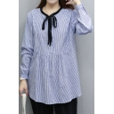New Fashion Classic Striped Printed Tied Round Neck Long Sleeve Pullover Blouse
