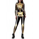 New Fashion Metallic Skeleton Pattern Long Sleeve Close-Fitted Jumpsuits