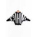 Color Block Striped Batwing Long Sleeve Round Neck Pullover Sweater