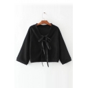 Fashion Lace-Up Bow Tie V Neck Long Sleeve Simple Plain Buttons Down Cardigan