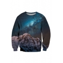 Chic Mountain Galaxy Printed Long Sleeve Round Neck Pullover Sweatshirt
