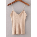 Women's Spaghetti Straps Sleeveless Plain Cami Sweater