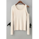 Cutout Bow Detail Long Sleeve Round Neck Plain Pullover Sweater