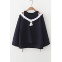 High Low Hem Long Sleeve Cutout Round Neck Tassel Detail False Two Pieces Pullover Sweatshirt